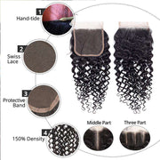 10A Jerry Curly Virgin Hair 3 Bundles With Closure 100% Human Hair - ashimaryhair