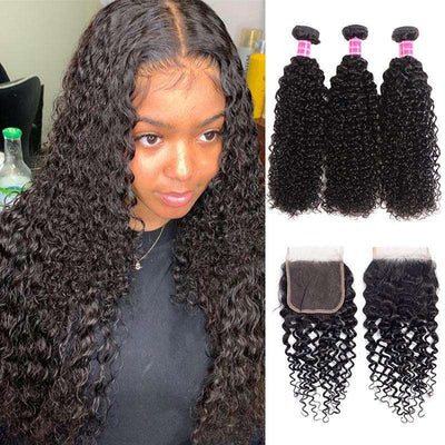 10A Jerry Curly Virgin Hair 3 Bundles With Closure 100% Human Hair