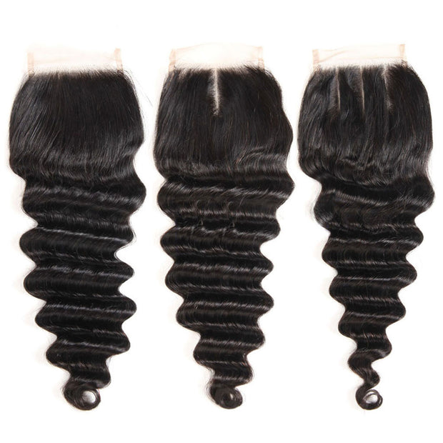 10A Loose Deep Wave Hair 4 Bundles With Closure Natural Color - ashimaryhair