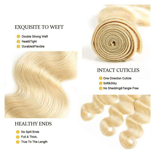 4 Bundles Honey Blonde Body Wave Brazilian Human Hair Bundles - ashimaryhair