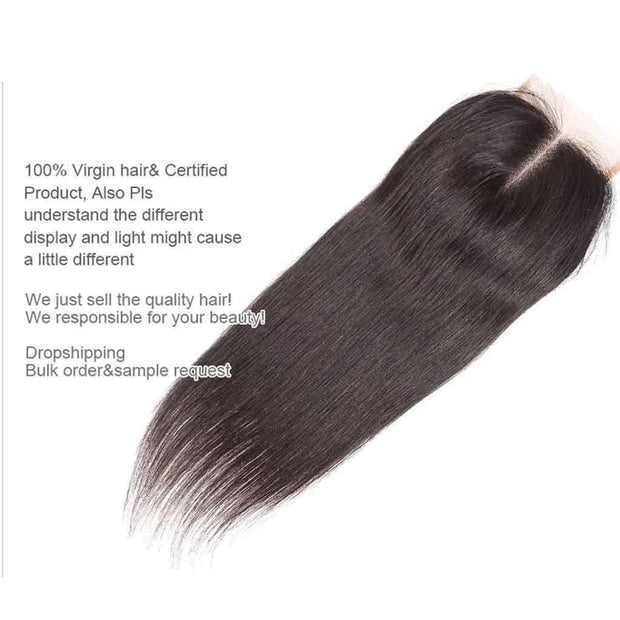 Peruvian Hair Weave Straight Lace Closure-AshimaryHair.com