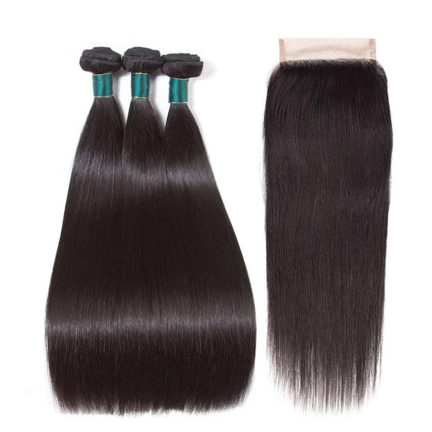 Peruvian Hair Weave Straight 2/3 Bundles with Closure-AshimaryHair.com