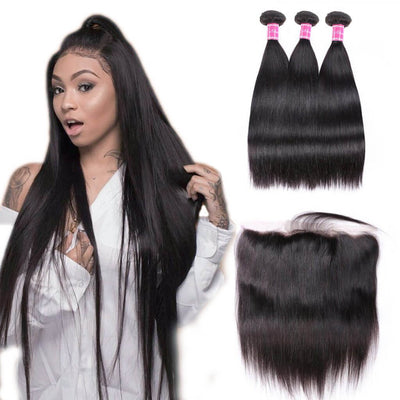 Indian Remy Human Hair Weaves Straight 3 Bundles with Lace Frontal Closure on AshimaryHair.com