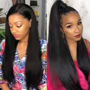 Indian Remy Human Hair Weaves Straight 3 Bundles with Pre Plucked Frontal Closure on AshimaryHair.com