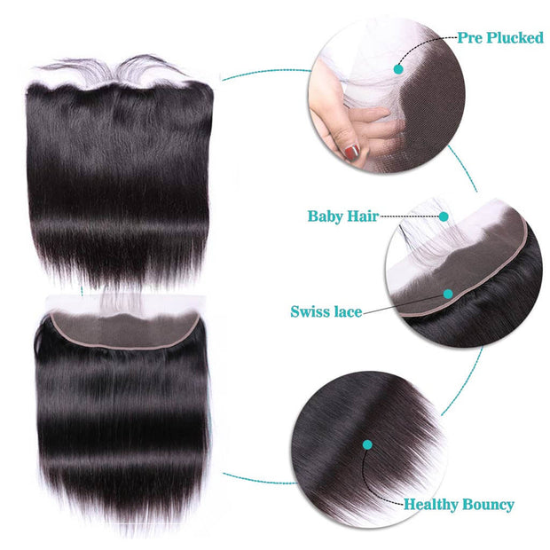Human Hair Straight Pre Plucked Frontal Closure on AshimaryHair.com