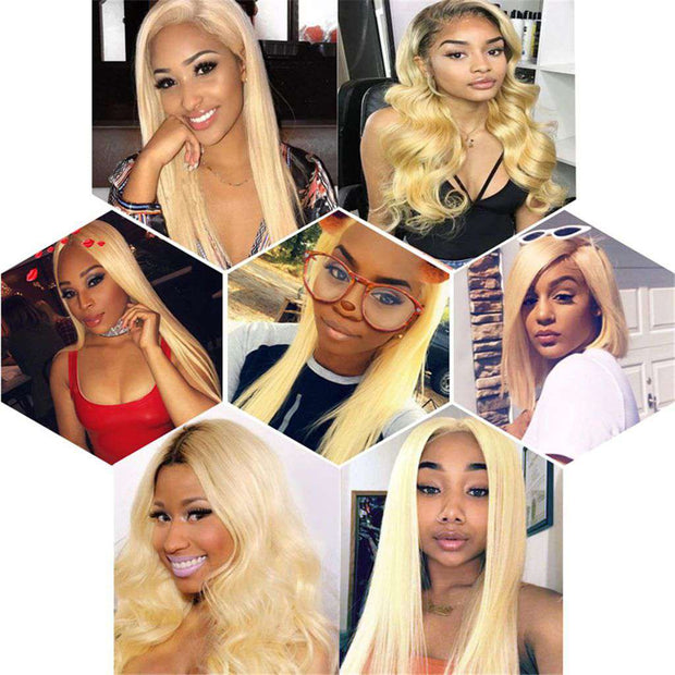 613 Blonde Brazilian Human Hair Straight Hair 2/3 Bundles with Closure - ashimaryhair