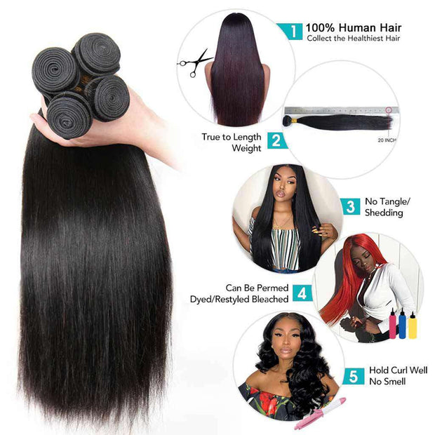 Bundles with 6*6 7*7 Closure 9A Straight Soft Brazilian Virgin Hair Natural Color - ashimaryhair