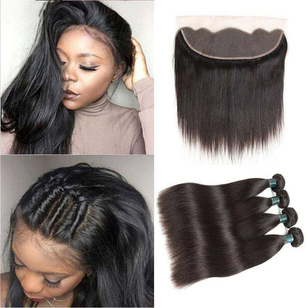 Ashimary Hair 13*4 Ear to Ear Lace Frontal with Bundles Straight Brazilian Virgin Hair Weave Bundles with Lace Frontal Closure