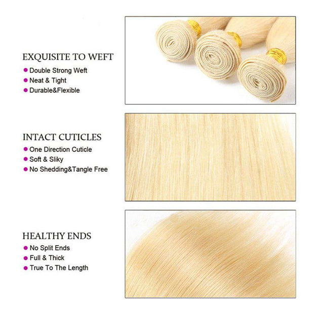 4 Bundles Honey Blonde Straight Brazilian Human Hair Bundles - ashimaryhair