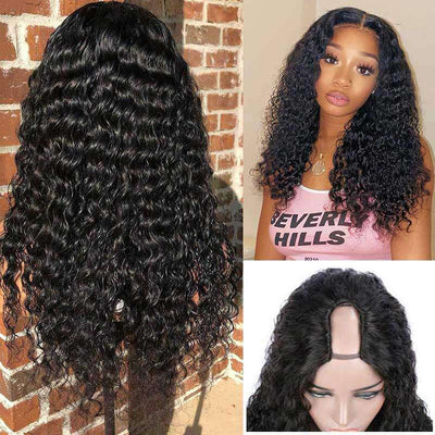 U Part Wig Human Hair Wigs Deep Wave Wig Long Wigs Glueless