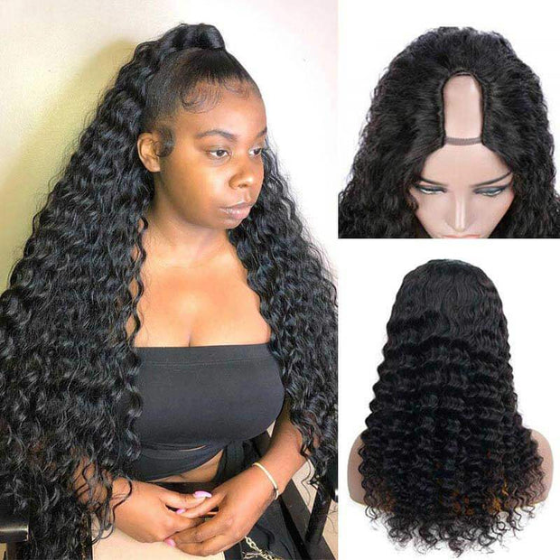 U Part Wig Human Hair Wigs Loose Deep Wave Wig Long Wigs Glueless