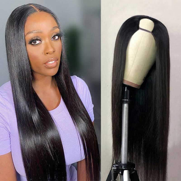 U Part Wig Human Hair Wigs Body Wave Wig Long Straight Wigs Glueless