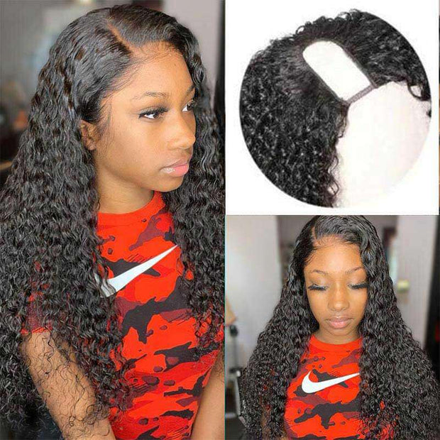 U Part Wig Human Hair Wigs Water Wave Wig Long Wigs Glueless