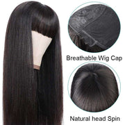 Ashimary Full Machine Made Wig Straight Virgin Hair Wigs With Bangs