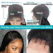 Ashimary Real Big 13*6 Lace Front Wig Straight 150% 180% 250% Density Brazilian Human Hair
