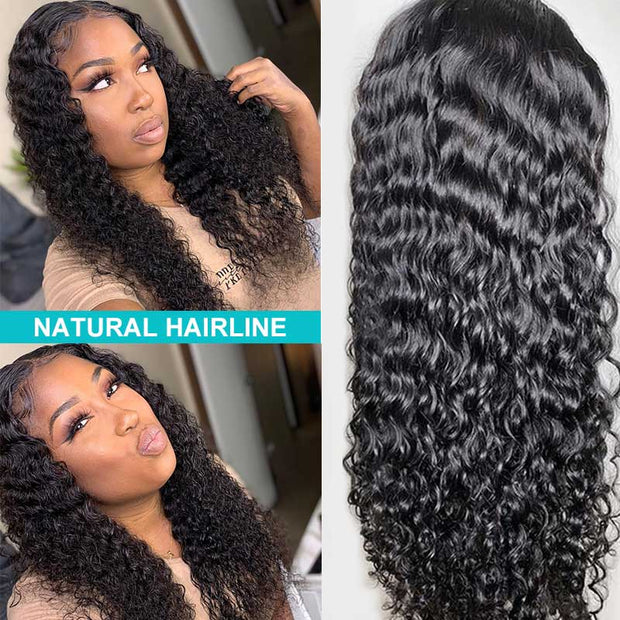 Ashimary Water Wave Glueless 5*5 HD Transparent Closure Wig  Brazilian Human Hair Wig Natural Color