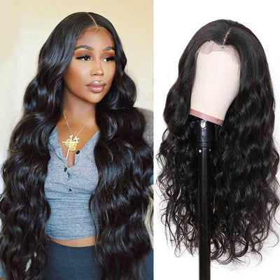 Long Body Wave Wigs 13*4 Transparent HD Lace Frontal Wigs Human Hair 28-38 Inch