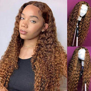 Brown Curly Lace Front Wigs Deep Wave Brazilian Human Hair-AshimaryHair.com