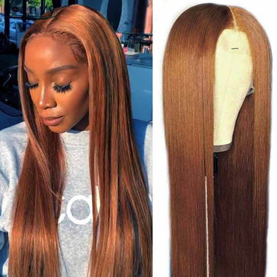 Brown Lace Front Wigs Straight Brazilian Human Hair-AshimaryHair.com