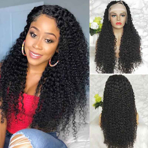 Long Jerry Curly Wigs 13*4 Transparent HD Lace Frontal Wigs Human Hair 28-38 Inch