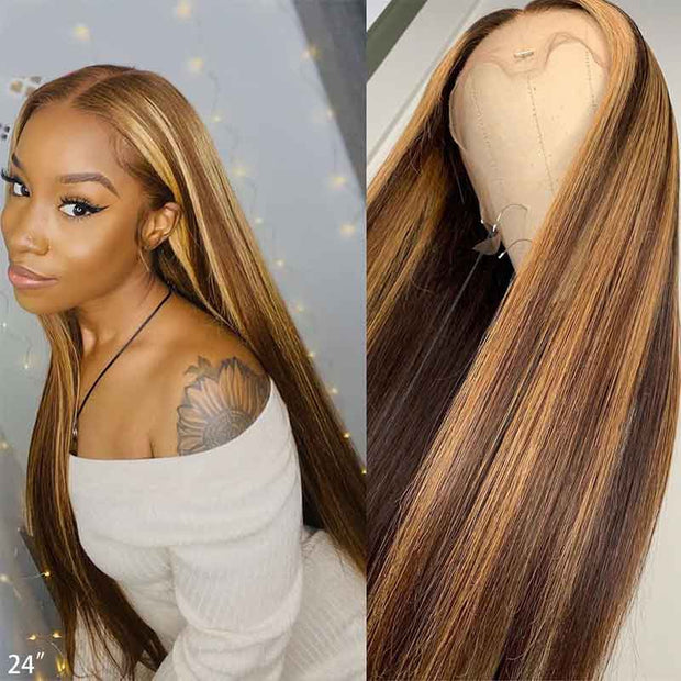 Dark Brown Hair With Highlights Lace Front Wigs Brazilian Straight Hair-AshimaryHair.com