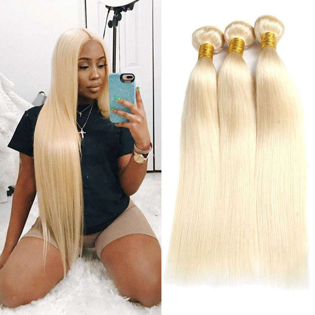 Honey Blonde 3 Bundles Straight Brazilian Human Hair Bundles - ashimaryhair
