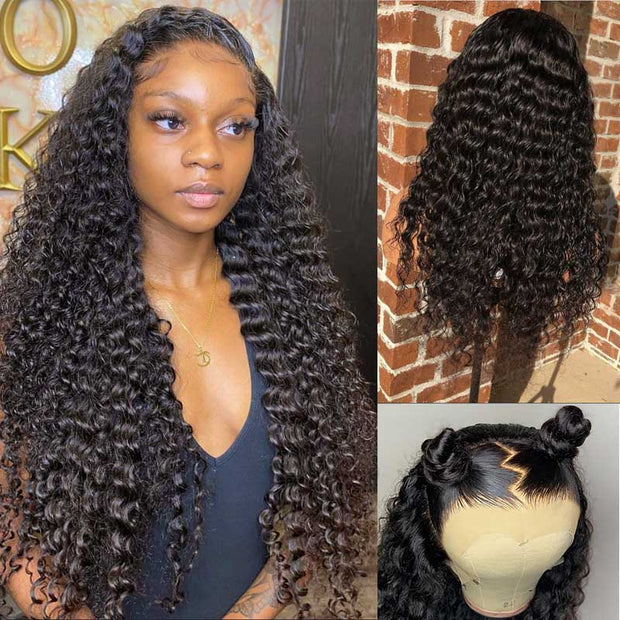 Deep Wave Lace Front Wig 13*4 Lace Frontal Human Hair Wig 150% 180% 250% Density