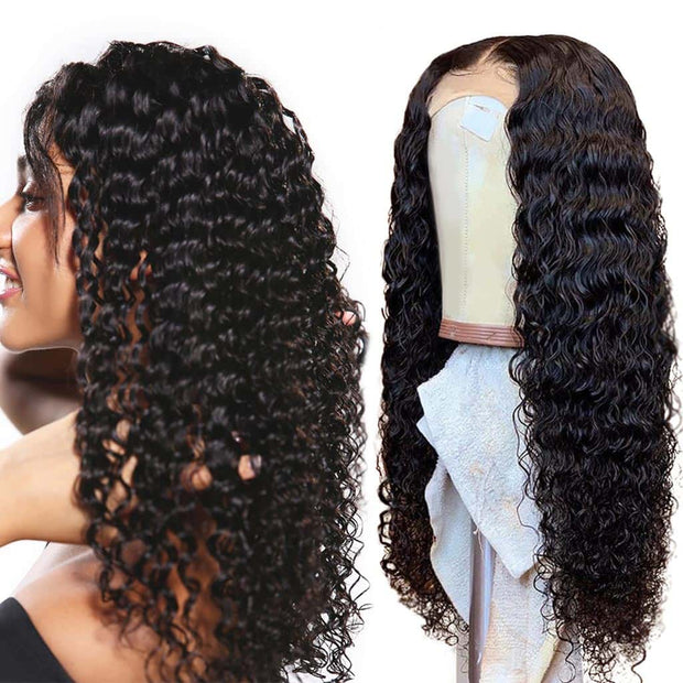 Deep Wave Wigs Human Hair 4*4 Lace Closure Wigs Brazilian Virgin Hair-AshimaryHair.com