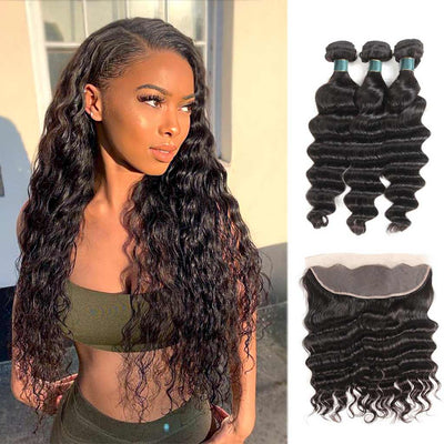 10A Loose Deep Wave Brazilian Hair Bundles With Frontal Human Hair - ashimaryhair