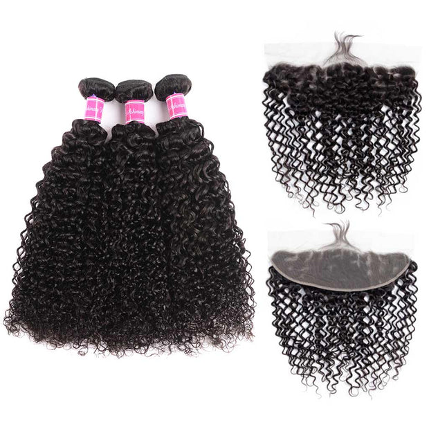 10A Jerry Curly Brazilian Hair 3 Bundles With Frontal Human Hair - ashimaryhair