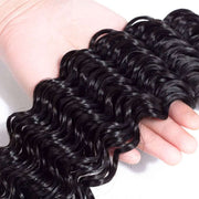 10A Deep Wave Brazilian Hair 3 Bundles With Frontal Human Hair - ashimaryhair