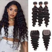 9A Loose Deep Wave Virgin Hair 3 Bundles with Closure Natural Color Brazilian Hair - ashimaryhair