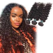 3 Bundles 9A Deep Wave Human Hair Bundles Brazilian Virgin Hair Natural Color - ashimaryhair