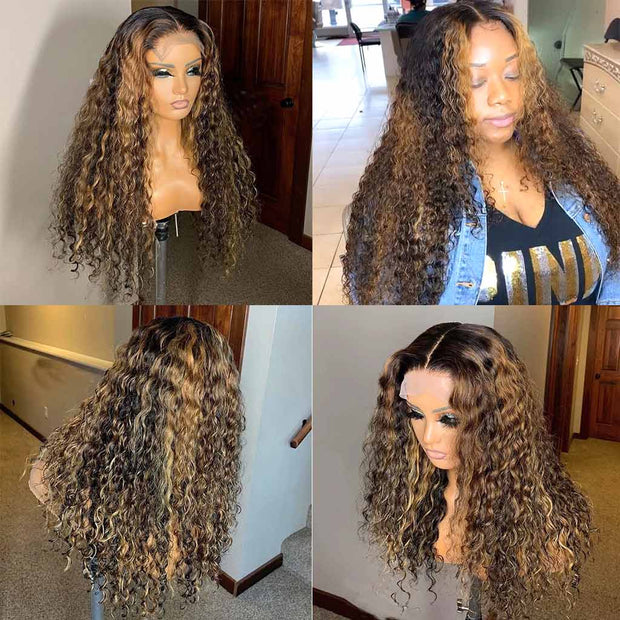 Highlight Brown Curly Lace Front Wigs Human Hair Deep Wave -AshimaryHair.com