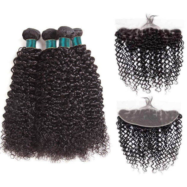 Ashimary 9A Jerry Curly Virgin Hair 3 Bundles With Frontal Human Hair