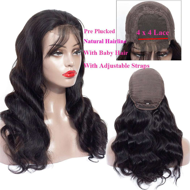 4*4 Lace Closure Wig Body Wave Lace Front Wigs Brazilian Human Hair-AshimaryHair.com