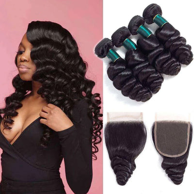 10A Loose Wave Hair 4 Bundles With Closure Natural Color - ashimaryhair