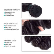 9A Loose Wave Virgin Hair 3 Bundles with Closure Natural Color Brazilian Hair - ashimaryhair