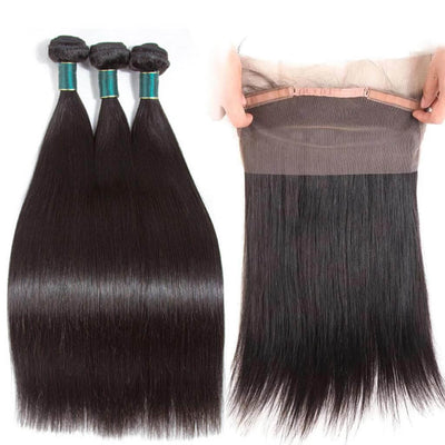 Ashimary Hair Pre Plucked 360 Lace Frontal Closure With Bundles Cheap Black Straight Human Hair