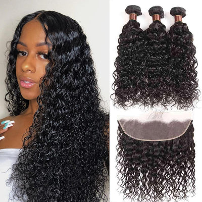 9A Grade Water Wave 3 Bundles With Frontal Brazilian Virgin Hair - ashimaryhair