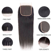 10A Straight Brazilian Human Hair Bundles with Closure Virgin Hair Natural Color - ashimaryhair