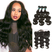 10A Brazilian Body Wave Hair 3 Bundles With Frontal Human Hair - ashimaryhair