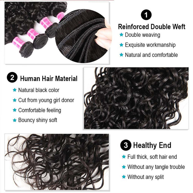 10A Water Wave Hair 4 Bundles With Closure Brazilian Hair Natural Color - ashimaryhair