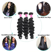 9A Grade Loose Deep Wave 3 Bundles With Frontal Brazilian Virgin Hair - ashimaryhair