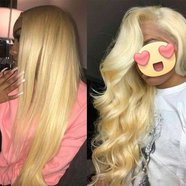 613 Blonde Brazilian Human Hair Body Wave Bundles with Closure - ashimaryhair