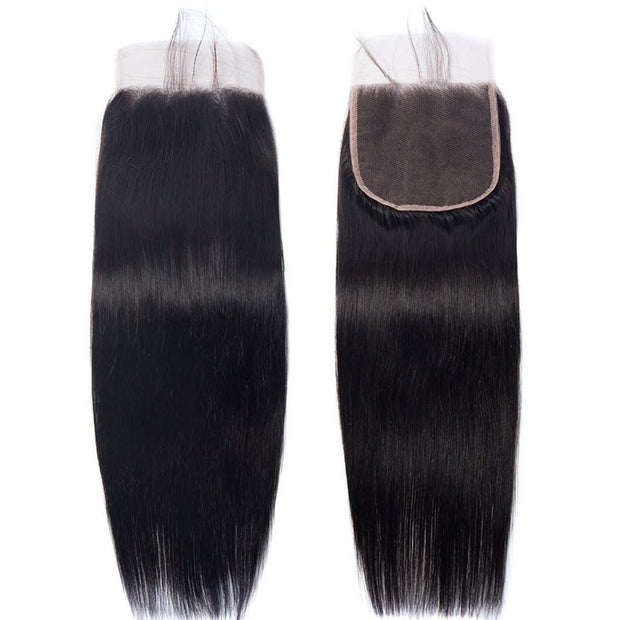 Bundles with 5*5 6*6 7*7 Closure 9A Straight Soft Brazilian Virgin Hair Natural Color - ashimaryhair