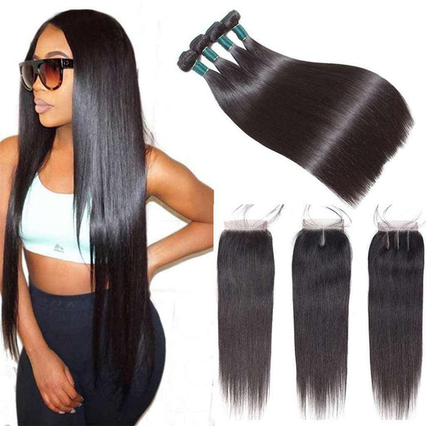 Best Human Hair Bundles With Closure Straight Brazilian Hair Weave-AshimaryHair.com