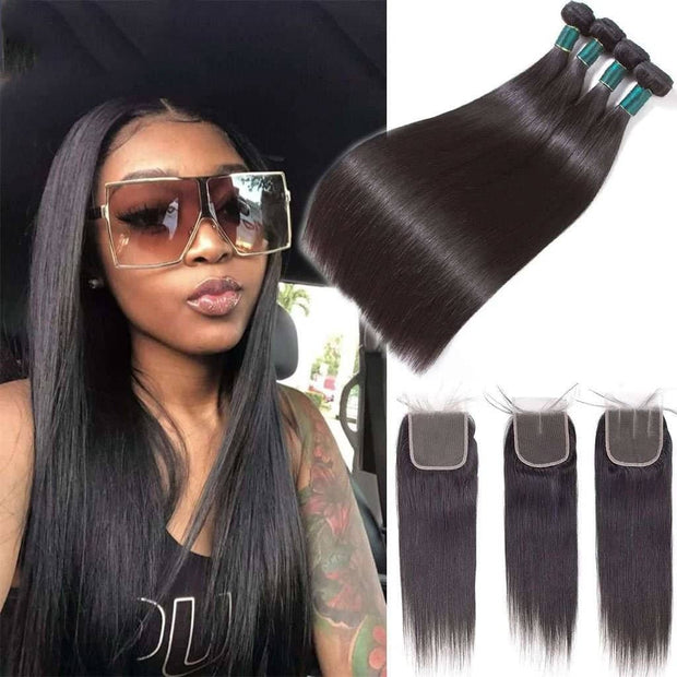 Top Quality Straight Human Hair Weave 4 Bundles With Closure-AshimaryHair.com