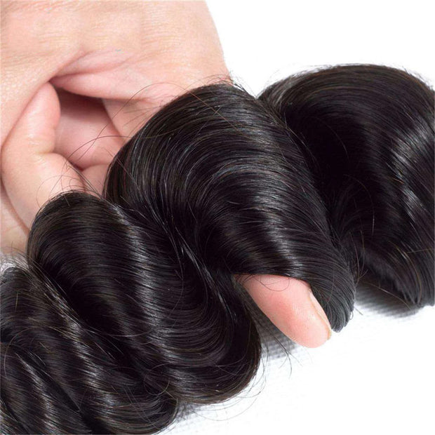 3 Bundles 9A Loose Wave Human Hair Bundles Natural Color - ashimaryhair
