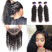 10A Brazilian Deep Wave Hair Bundles With 360 Lace Frontal Virgin Hair - ashimaryhair